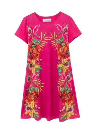 Desigual růžové dívčí šaty Vest Lucy