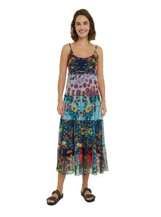 Desigual barevné letní midi šaty Vest Marnac