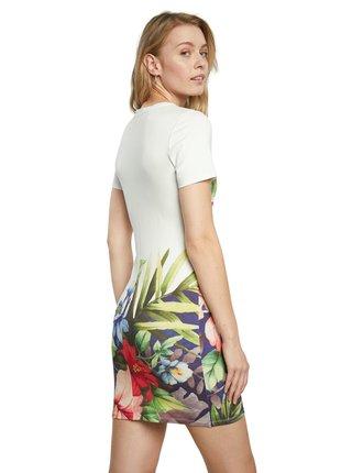 Desigual biele šaty Vest Saifo s farebnými motívmi