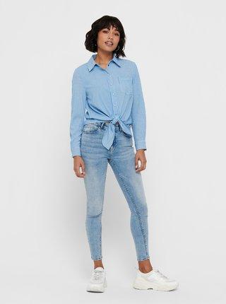 Modrá pruhovaná košeľa so zaväzovaním ONLY Lecey