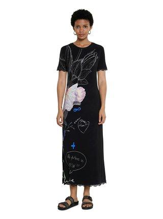 Desigual černé maxi šaty Vest Flor