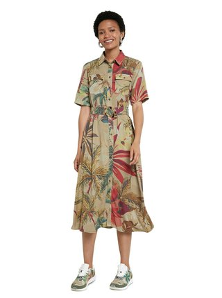 Desigual béžové košeľové šaty