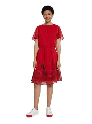 Desigual červené šaty Vest Tampa