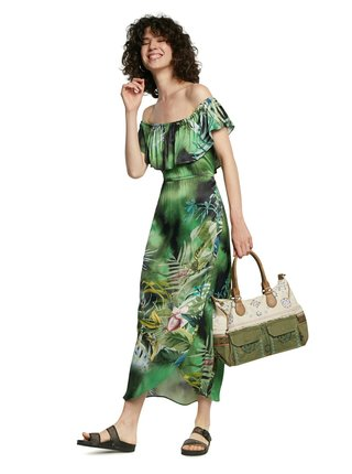 Desigual zelené letní maxi šaty Vest Tucson