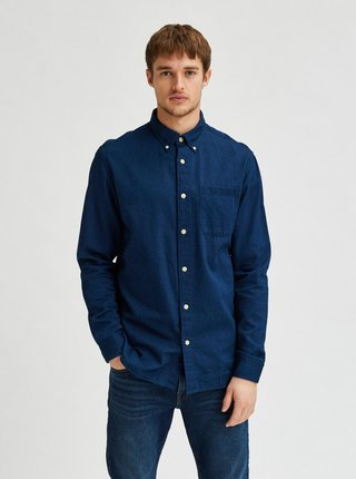 Tmavomodrá rifľová košeľa Selected Homme Regrick