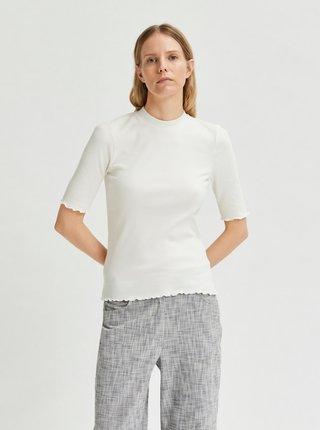 Biele tričko so stojáčikom Selected Femme Fanna