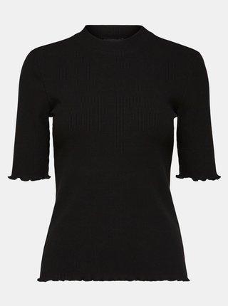 Černé tričko se stojáčkem Selected Femme Fanna