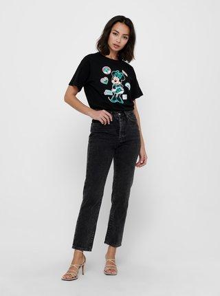 Černé tričko s potiskem Jacqueline de Yong Nina