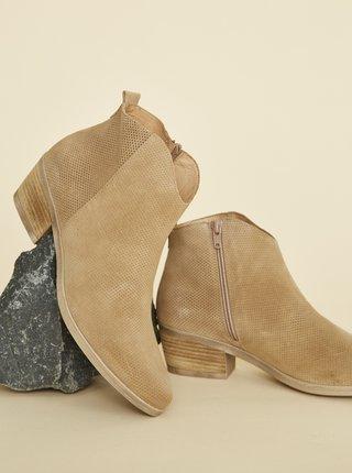 Hnědé dámské vzorované semišové kotníkové boty OJJU