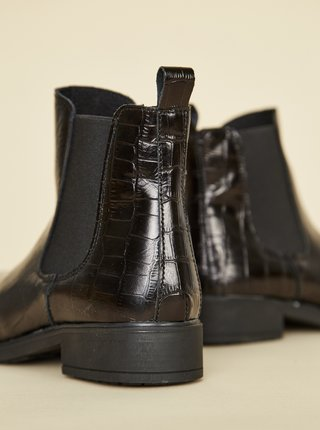 Černé dámské kožené chelsea boty s krokodýlím vzorem OJJU