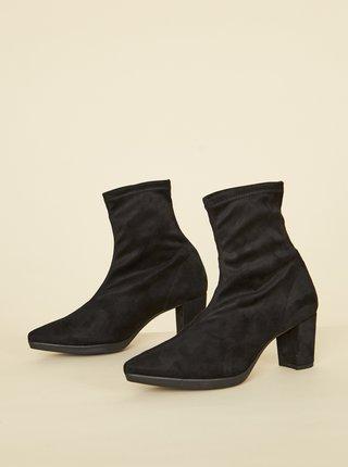 Čierne členkové topánky v semišovej úprave OJJU