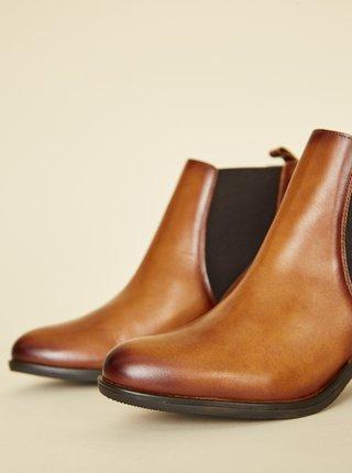Hnědé dámské kožené kotníkové boty OJJU