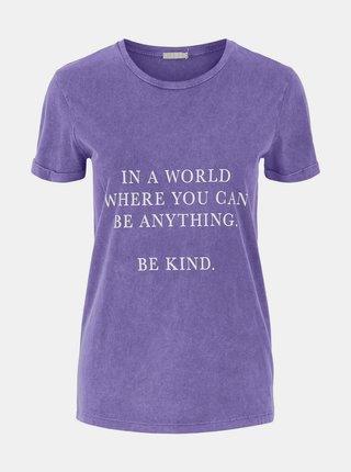 Fialové tričko s potlačou Pieces Anything