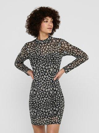 Čierne vzorované púzdrové šaty Jacqueline de Yong Camille