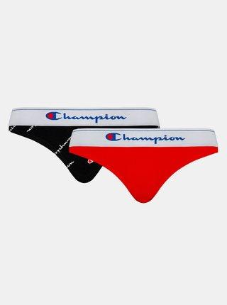 CHAMPION BRIEF CLASSIC 2x - 2 ks bavlněných kalhotek - červená - tmavě modrá