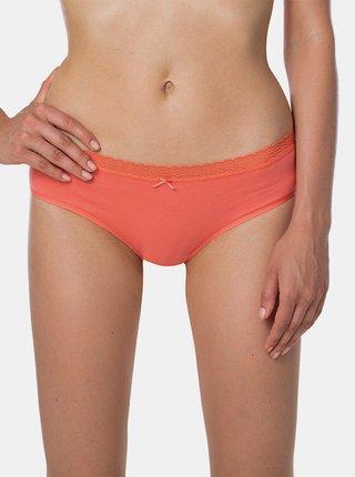 Dámské kalhotky FANCY COTTON HIPSTER - Dámské vykrojené kalhotky s krajkou - korálová