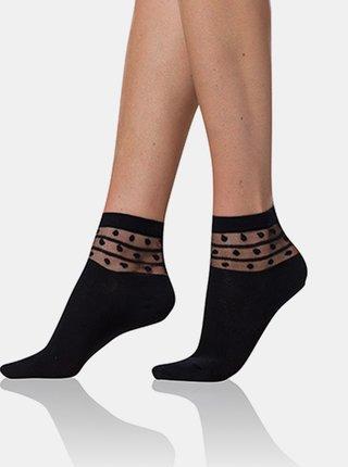 Dámské ponožky TRENDY COTTON SOCKS - Dámské ponožky s ozdobným lemem - černá