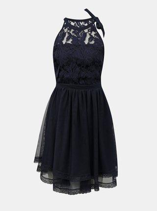 Tmavě modré šaty s krajkovým topem VILA Zinna