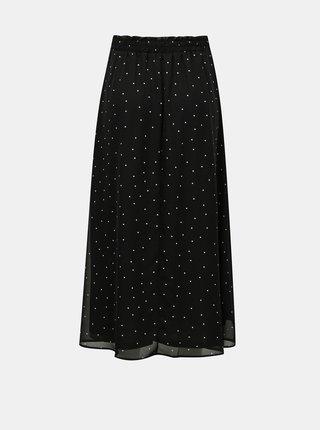 Čierne bodkovaná midi sukňa ONLY Tracy