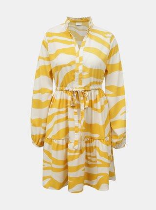 Krémovo-žlté šaty so zebrím vzorom VILA Omina