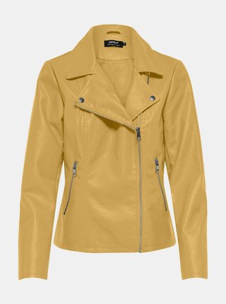 Žltá koženková bunda ONLY Melisa