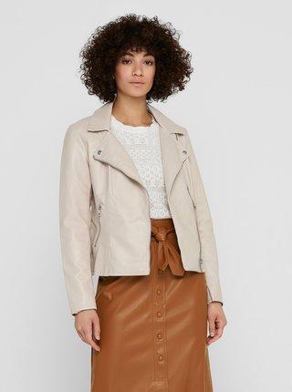 Krémová koženková bunda ONLY Melisa