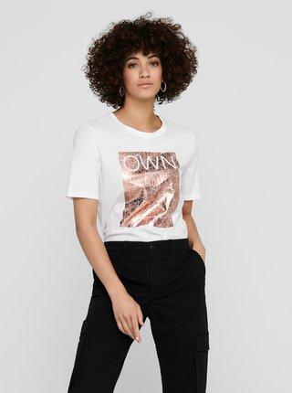 Bílé tričko s potiskem ONLY Ivy