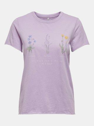 Světle fialové tričko s potiskem ONLY Lucy