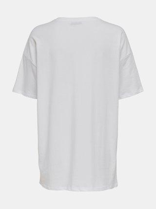 Bílé dlouhé tričko s potiskem ONLY Happy