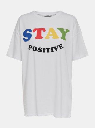 Biele dlhé tričko s potlačou ONLY Happy
