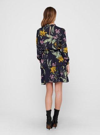 Tmavomodré kvetované šaty so stojáčikom ONLY Palm