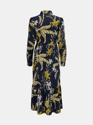 Tmavomodré kvetované košeľové maxišaty ONLY Palm