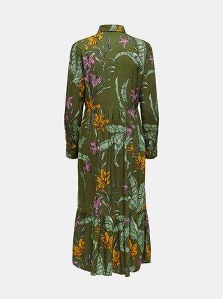 Zelené kvetované košeľové maxišaty ONLY Palm