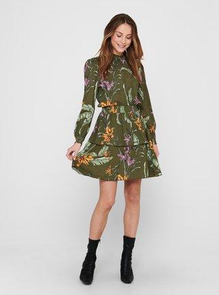 Zelené kvetované šaty so stojáčikom ONLY Palm