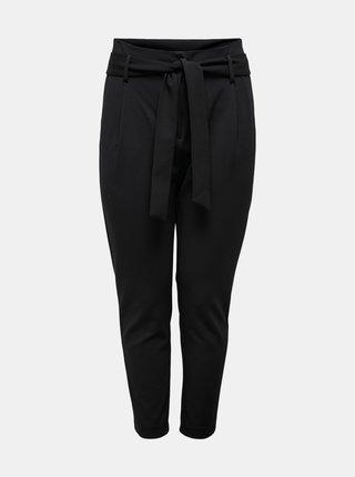 Čierne skrátené nohavice so zaväzovaním ONLY CARMAKOMA Carolinus