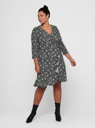 Černé květované zavinovací šaty ONLY CARMAKOMA Lolli