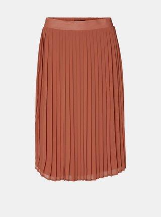 Cihlová plisovaná sukně VERO MODA Nori
