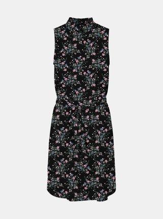 Černé květované šaty se stojáčkem VERO MODA Fallie