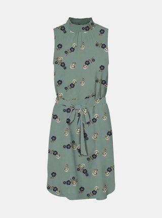 Petrolejové květované šaty se stojáčkem VERO MODA Fallie