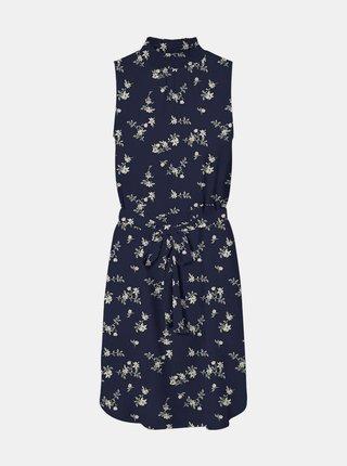 Tmavě modré květované šaty se stojáčkem VERO MODA Fallie