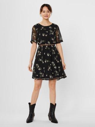 Černé květované šaty s páskem VERO MODA Fallie