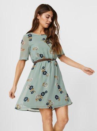 Petrolejové květované šaty s páskem VERO MODA Fallie