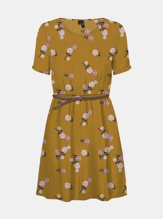 Žlté kvetované šaty s opaskom VERO MODA Fallie