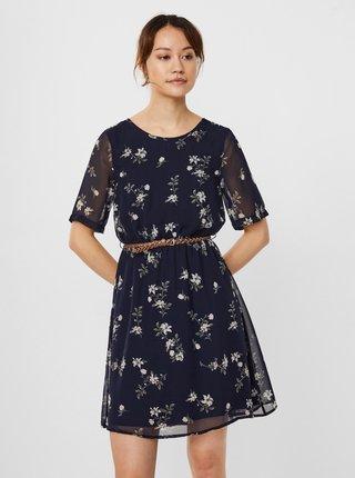 Tmavě modré květované šaty s páskem VERO MODA Fallie