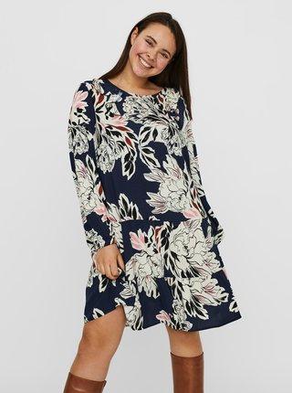 Tmavě modré květované šaty VERO MODA CURVE Manki
