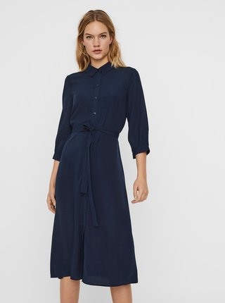 Tmavomodré košeľové šaty VERO MODA Cara