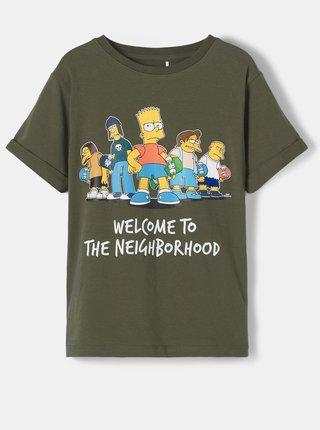 Khaki dětské tričko s potiskem name it Simpsons