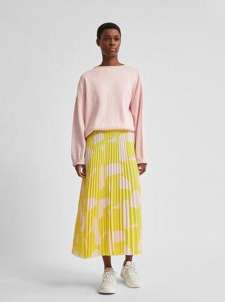 Žlutá vzorovaná plisovaná midi sukně Selected Femme Alexis