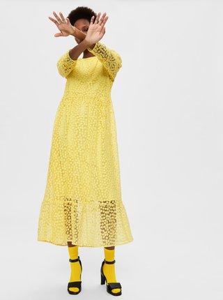 Žlté bodkované midišaty Selected Femme Mya