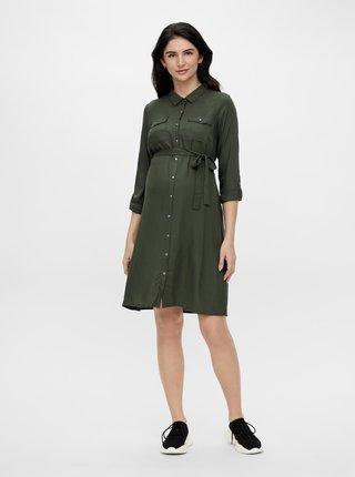 Khaki těhotenské košilové šaty Mama.licious Mercy